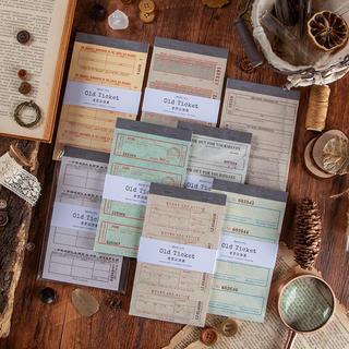 海外 レトロチケットシリーズメモ紙 ふせん 金箔押し コラージュ素材8種240枚