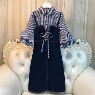 ワンピース レディース デニム スカート 襟付きシャツ フリル袖  スカート(ひざ丈ワンピース)