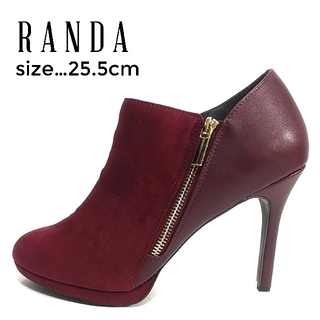 ランダ(RANDA)の美品 ランダ ブーティ ショートブーツ 25.5cm  ワインレッド ボルドー(ブーティ)