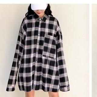 dholic - 【新品】韓国オーバーサイズチェックシャツ ロングシャツ