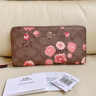 COACH - 【28日までセール】COACH  シグネチャー ピンクフラワー かわいい 長財布