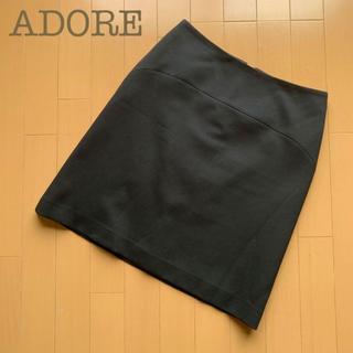 アドーア(ADORE)のADORE(アドーア )台形ストレッチスカート Aライン ブラック 黒 38(ひざ丈スカート)