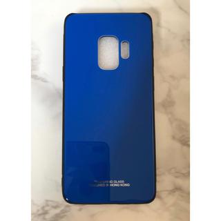 ギャラクシー(Galaxy)の人気♪シンプル 薄型耐衝撃背面9Hガラスケース GalaxyS9 ブルー 青(Androidケース)