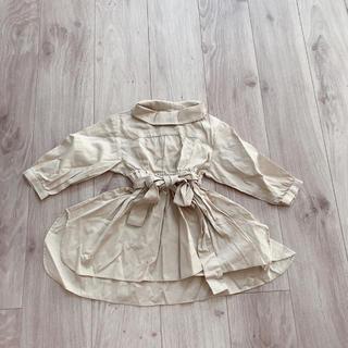 petit main - プティマイン ウエスト りぼん ペプラム  チュニック   シャツ ワンピース
