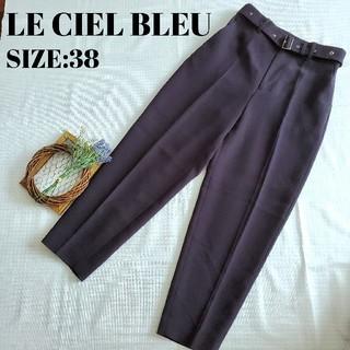 ルシェルブルー(LE CIEL BLEU)のルシェルブルー LECIELBLEU ベルト 付き タックパンツ 新品(クロップドパンツ)