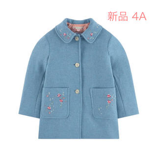 Bonpoint - bonpoint fille 刺繍 コート 4A  ブルー 青 女の子