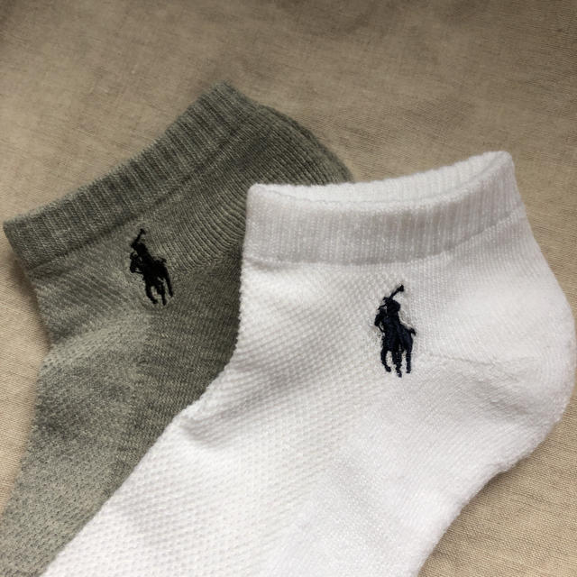 POLO RALPH LAUREN(ポロラルフローレン)のポロラルフローレン レディースソックス2足 靴下 グレー ホワイト レディースのレッグウェア(ソックス)の商品写真