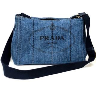 PRADA - プラダ 2way ショルダーバッグ カナパ トート デニムブルー × ブラック