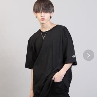 チャンピオン 袖刺繍 Tシャツ 黒XL