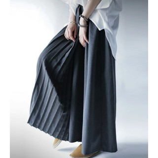 アンティカ(antiqua)のアンティカ プリーツ加工切り替え スカート見え ワイドパンツ スカンツ(その他)