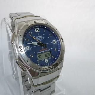 カシオ(CASIO)のカシオメンズデシタアナ電波ソーラー腕時計ステンレス防水(腕時計(アナログ))