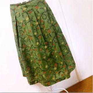ホコモモラ(Jocomomola)の花柄ロングスカート 花柄スカートホコモモラスカート緑刺繍レアjocomomola(ロングスカート)
