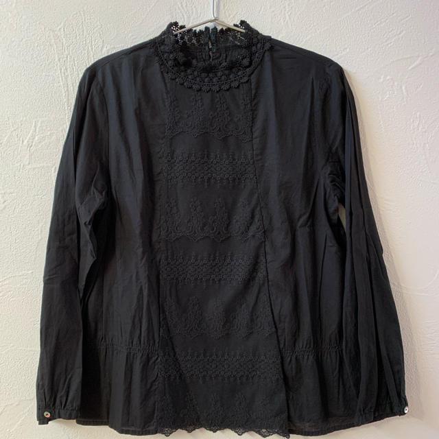 SM2(サマンサモスモス)のsm2 サマンサモスモス フリルブラウス 刺繍 黒 レディースのトップス(シャツ/ブラウス(長袖/七分))の商品写真