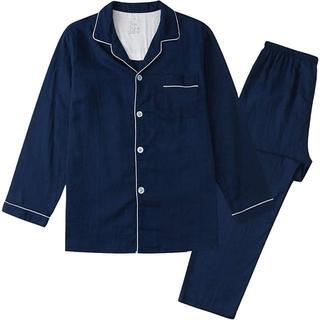 パジャマ  長袖 綿100%  二重ガーゼ 通気 上下セット Lサイズ
