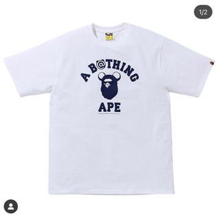 アベイシングエイプ(A BATHING APE)のBAPE X MEDICOM TOY  BE@R TEE WHITE XL(Tシャツ/カットソー(半袖/袖なし))