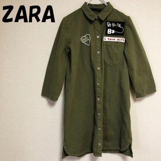 ZARA - 【人気】ザラ ワッペン付き ロングシャツ ワンピース カーキ XS レディース