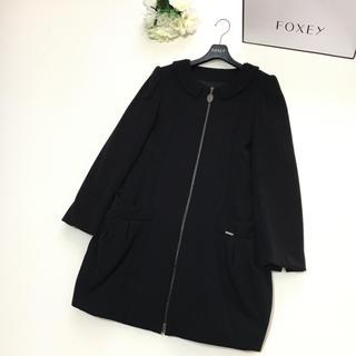 FOXEY - 【美品】新タグ FOXEY フォクシー 中綿 襟付き ブラック ロング コート