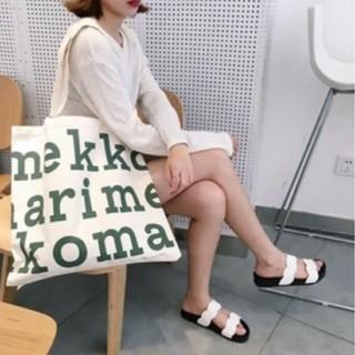 marimekko - 新品 ☆【marimekkoマリメッコ】☆トートバッグ グリーンロゴ エコバッグ