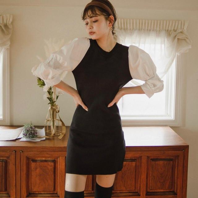 eimy istoire(エイミーイストワール)の袖切替パフスリーブワンピ レディースのワンピース(ミニワンピース)の商品写真