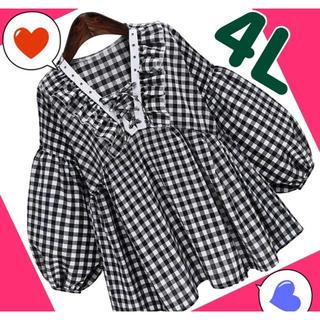 大きいサイズ  チュニック 4Lレディースブラウス 23トップス秋チェックシャツ