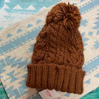 ビームス(BEAMS)の(新品未使用) BEAMS ブラウンボンボンニット帽(ニット帽/ビーニー)