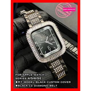 アップルウォッチ(Apple Watch)の44mm用●アップルウォッチカスタムカバーカスタムベルトセット⚫︎シリーズ6SE(金属ベルト)