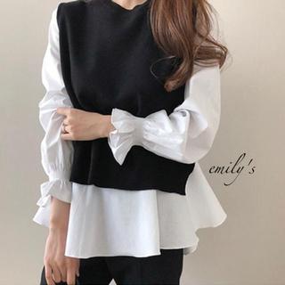 dholic - ♦︎import♦︎ニットベスト シャツ 2点セット 韓国ファッション
