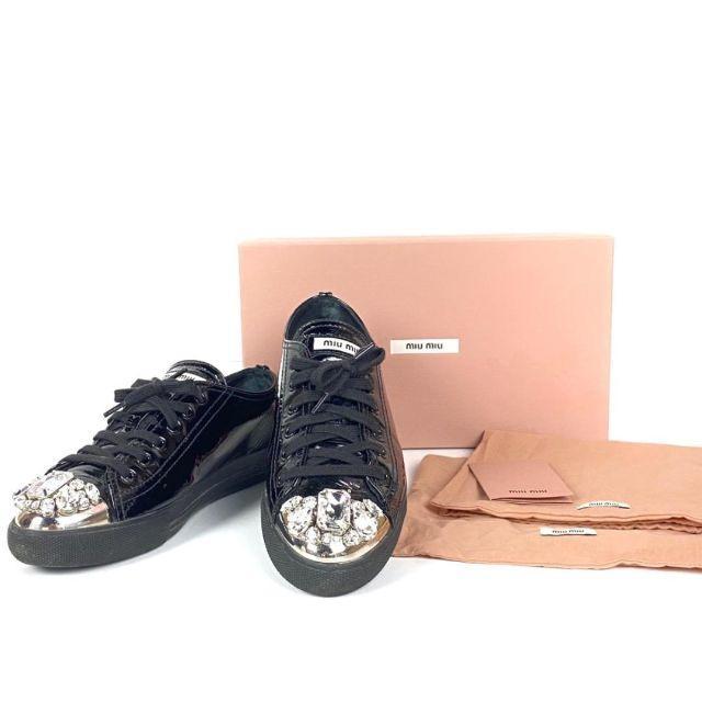 miumiu(ミュウミュウ)のミュウミュウ 靴 スニーカー 5E8557 ブラック エナメル×金属 ストーン レディースの靴/シューズ(スニーカー)の商品写真