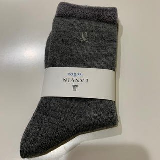 ランバンオンブルー(LANVIN en Bleu)のランバンオンブルー新品レディース 靴下ソックスダークグレー(ソックス)