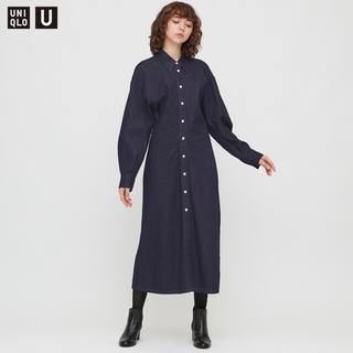 UNIQLO - 新品タグ付 ユニクロ デニムロングシャツワンピース(長袖)XLサイズ