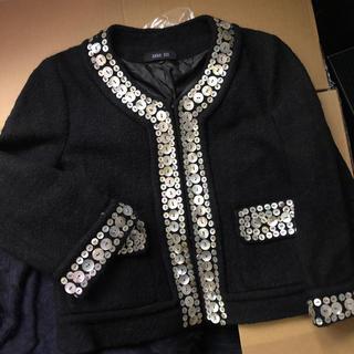 アナスイ(ANNA SUI)の【ANNA SUI】アナスイ☆豪華ツイードジャケット☆シェル装飾☆コート(ノーカラージャケット)