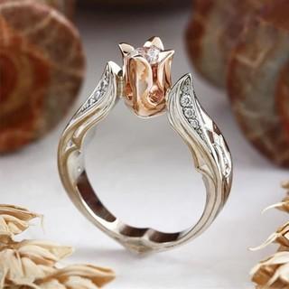 10号ローズピンク薔薇バラリング 指輪(リング(指輪))