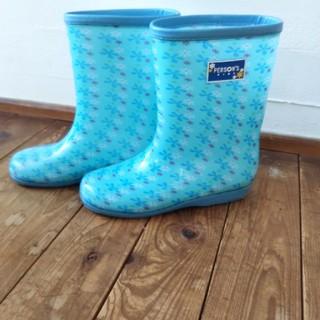 PERSON'S KIDS - 長靴 キッズ 23 水色 花柄 レインブーツ