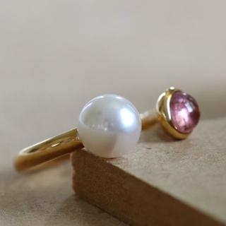新品 K18あこや真珠ピンクトルマリンリング(リング(指輪))