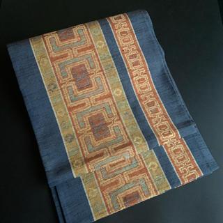 ⭐️正絹オリエンタル袋帯⭐️リバーシブル⭐️紬地⭐️全通⭐️