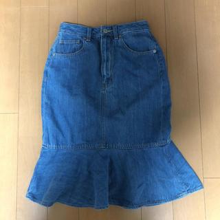 ジーユー(GU)のGU WOMEN デニムマーメイド ミディスカート S(ひざ丈スカート)