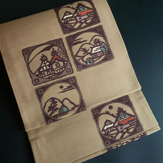 ⭐️正絹シャレ袋帯⭐️六通⭐️幾何学文様⭐️ベージュ⭐️