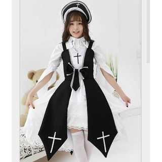 『FREE SIZE』ハロウィン ロリター  シスター コスプレ 衣装 白×黒