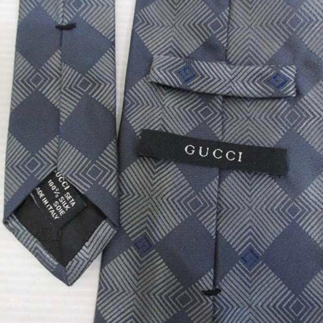 Gucci(グッチ)のグッチ GUCCI シルク100% 総柄 ネクタイ 剣先9.5cm ダークグレー メンズのファッション小物(ネクタイ)の商品写真