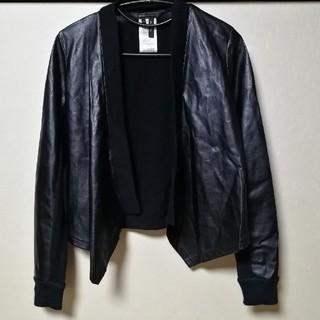 BCBGMAXAZRIA - BCBG Maxazria フェイクレザーとウールニットのジャケット黒色