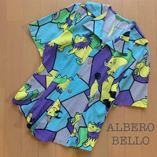 ALBEROBELLO(アルベロベロ)ブタさんアニマル柄シャツ 総柄 ブルー系