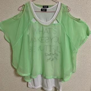 シェイクシェイク(SHAKE SHAKE)の肩出しシースルー半袖カットソー(タンクトップ付)(Tシャツ(半袖/袖なし))