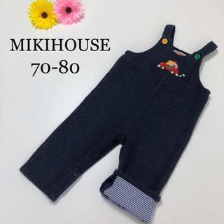 mikihouse - ミキハウス 柔らかデニム オーバーオール サロペット プッチー君 車 ファミリア