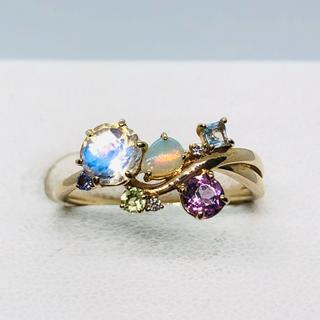 A.D.A K10 マルチ石付 リング ダイヤモンド0.01ct(リング(指輪))