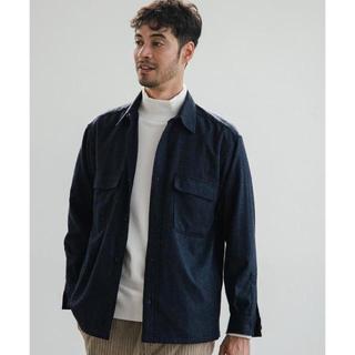 ユニクロ(UNIQLO)のウールシャツ ネイビー (シャツ)