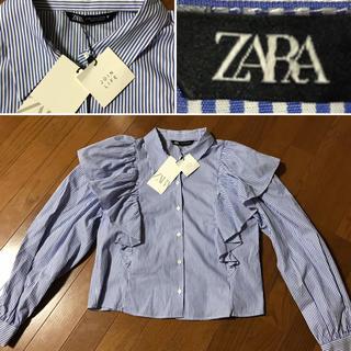 ZARA - ZARA フリル ストライプシャツ