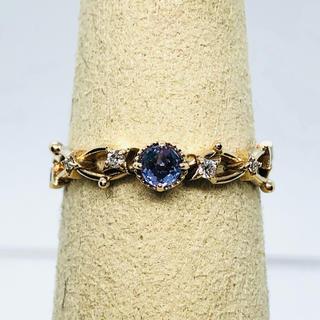訳あり K10 青紫色石 リング  ダイヤモンド:0.03ct(リング(指輪))