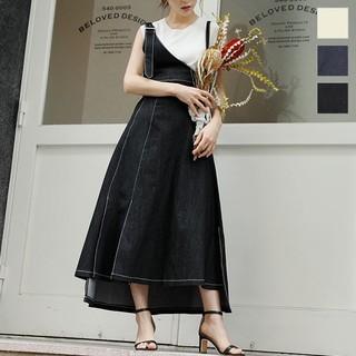 神戸レタス - 神戸レタスワンショルスリットデザインジャンスカブラック