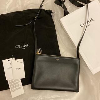 セリーヌ(celine)の美品 CELINE  セリーヌ トリオ ラージ ブラック(ショルダーバッグ)