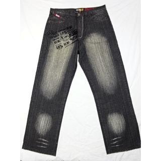 アカデミクス(AKADEMIKS)のアカデミクス☆9ポケットデザイン黒デニムパンツ☆38☆ウェスト約96cm(デニム/ジーンズ)